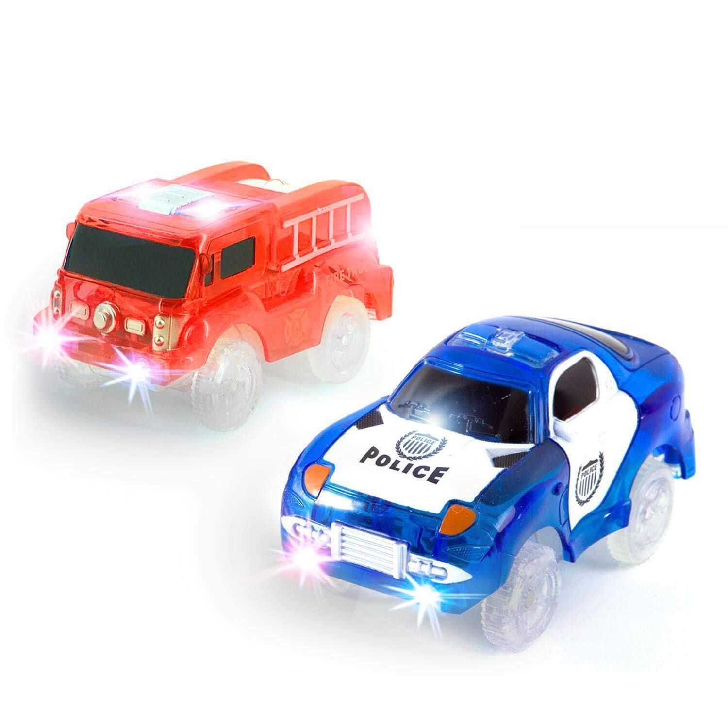TSLIKANDO 3Pack Glow Tracks Cars Glow in the Dark Light Up Track Replacement Car Compatible with Most Racing Tracks for Boys and Girls