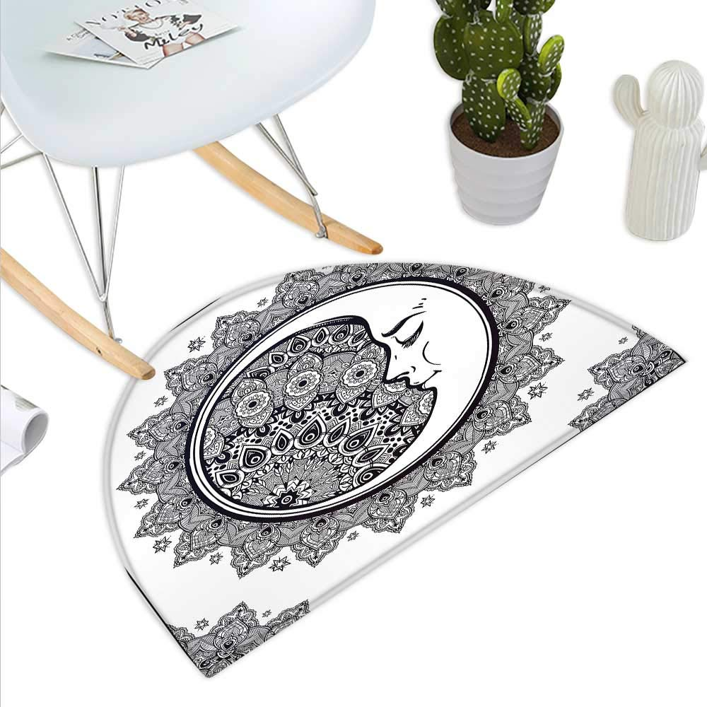color06 H 47.2  xD 70.8  Zodiac Semicircle Doormat Minimalist Rounded Symbols Mystical Outer Space Effects on Character Image Print Halfmoon doormats H 27.5  xD 41.3  Black White