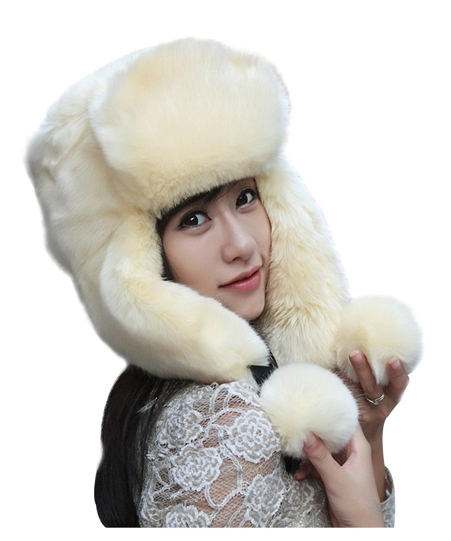 GIANCO FERRO Women Faux Fur Trapper Hat Winter Russian Aviator Hat with Ear Flap GF-6black