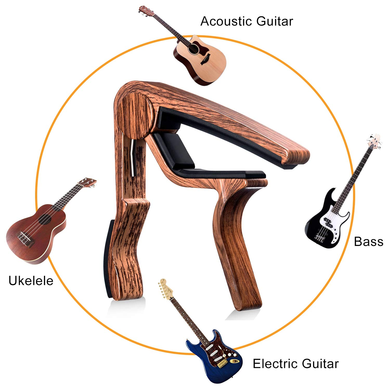 Moreyes Guitar Capo for Acoustic Guitar,Ukelele 2 Pack Electric Guitar with Wood Color Guitar Picks