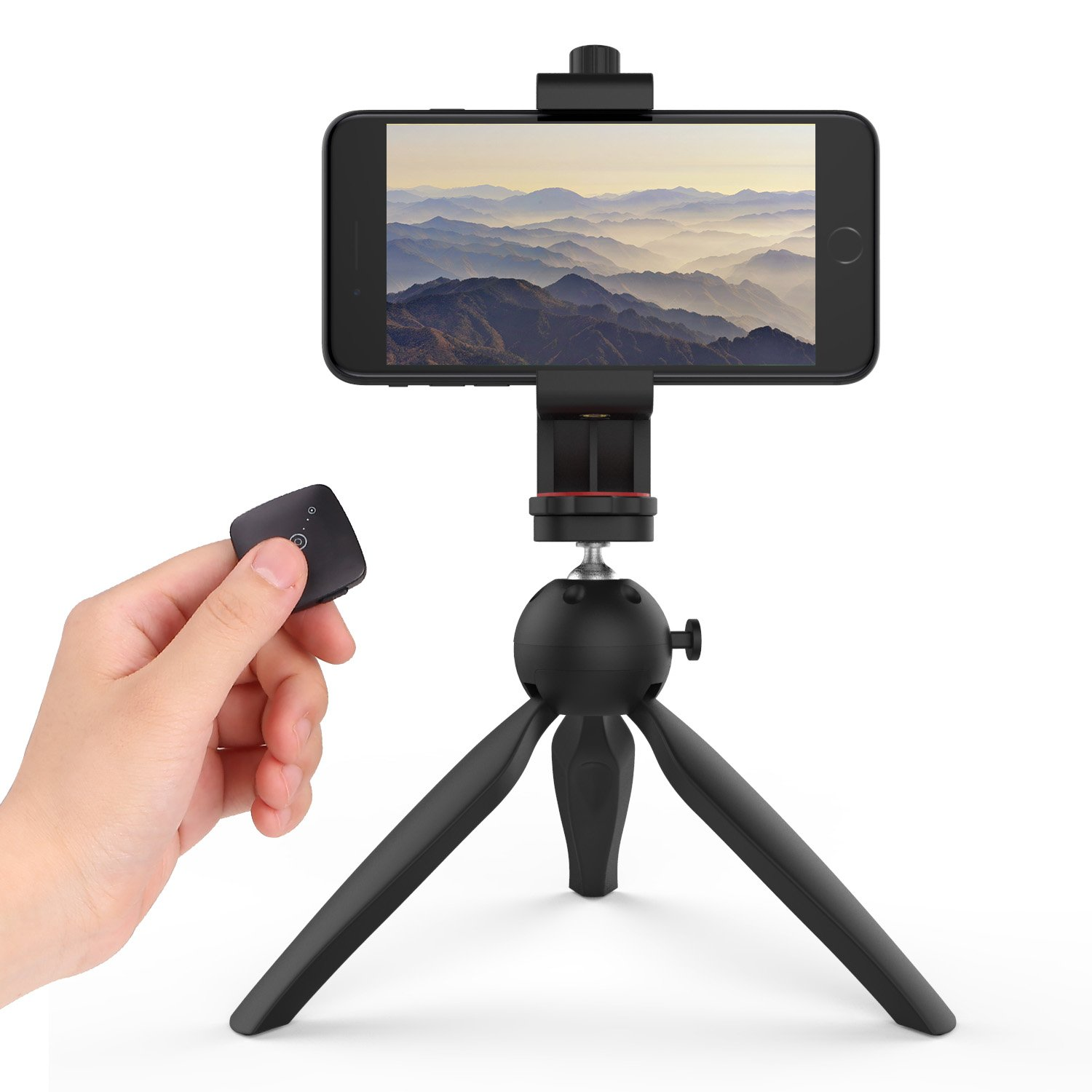 Phone Camera Tripod, MoKo Flexible Tripod Stand Holder with Bluetooth Remote and Universal Clip for iPhone X, 8 Plus, 7 Plus, 6S Plus, iPhone 8, 7, 6S, 6, Samsung Note 8, S8 Plus, S8, S7 edge - BLACK