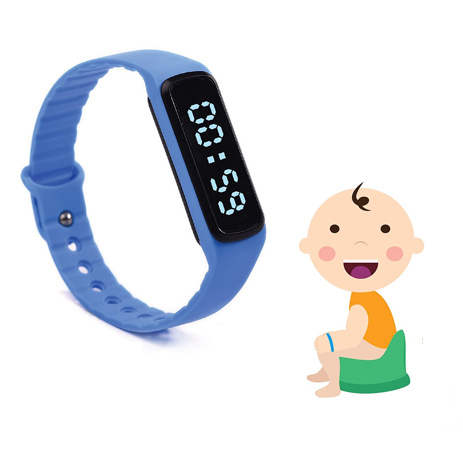 The Brand New Designed Potty Training Bracelet (Blue) with Water Resistance Function and Small Sized Watchband - Made with 100% Non-Toxic, BPA/Latex Free Silicone Rubber CalPalmy