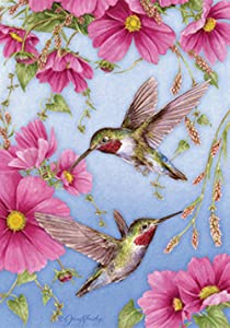 Toland Home Garden Hummingbirds With Pink 12.5 x 18 Inch Decorative Spring Summer Bird Flower Garden Flag