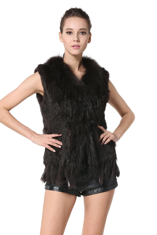 Coffee AORUI Women's Real Knitted Rabbit Fur Vests with Raccoon Fur Collar