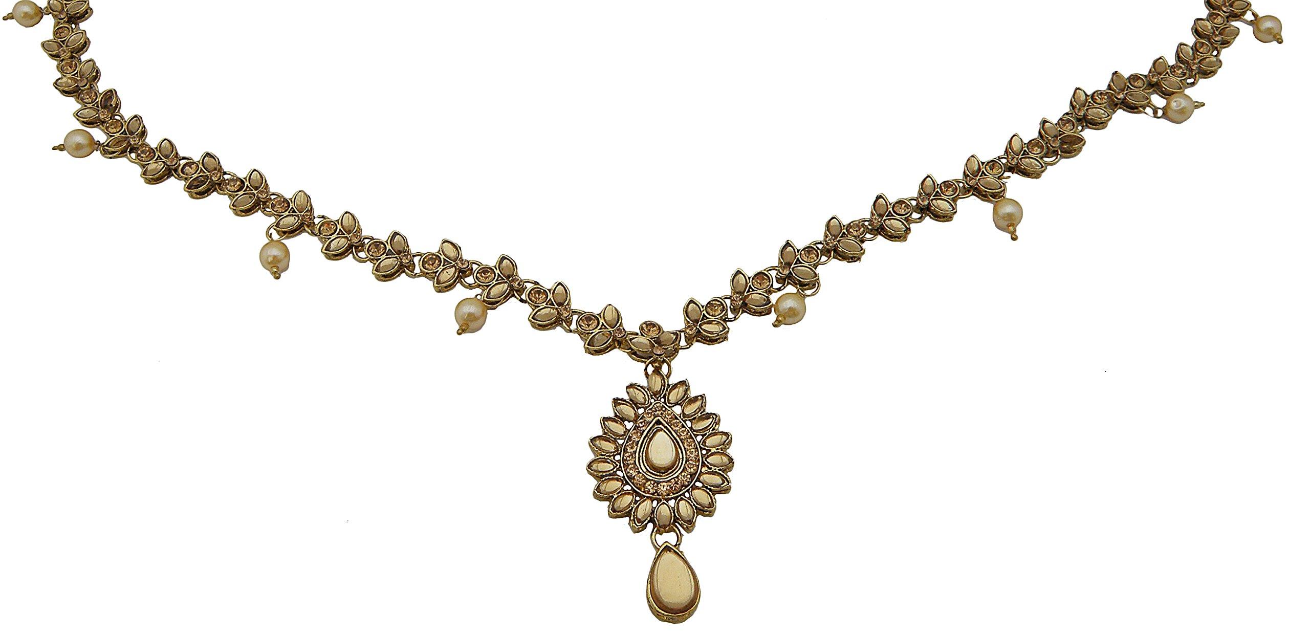 Jwellmart Women's Ethnic Collection Stone Saree Waist Belt Kamarbandh Golden (Brown) by Jwellmart (Image #2)