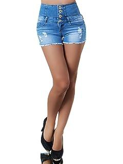 Edle Damen Highwaist Shorts in schwarz mit Ziergürtel Stretch schicke kurze Hose