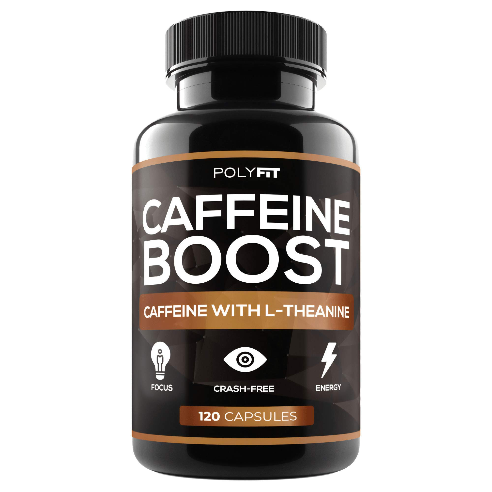 Caffeine Pills with L-Theanine - 120 Capsules - Energy & Focus Supplement - 100mg Caffiene & 200mg LTheanine Per Serving by Polyfit