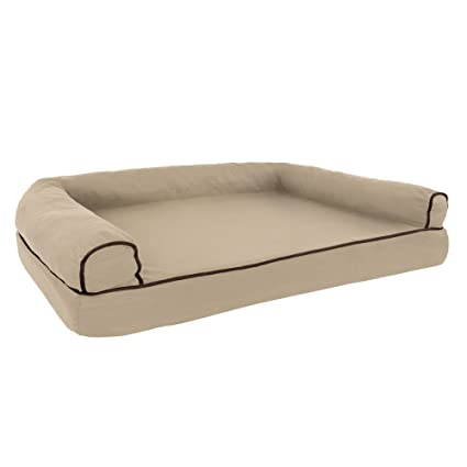 Gentil PETMAKER Orthopedic Pet Sofa Bed With Memory Foam And Foam Stuffed Bolsters  42x28x8.5 Tan