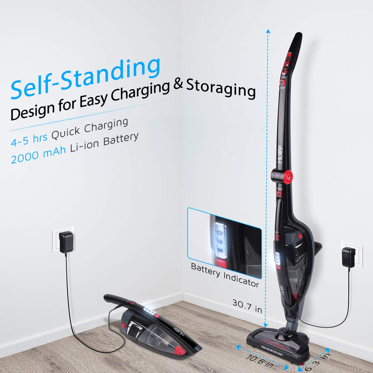 holife 2 in 1 cordless stick vacuum cleaner handheld vacuum with high powered 797646217588 ebay. Black Bedroom Furniture Sets. Home Design Ideas