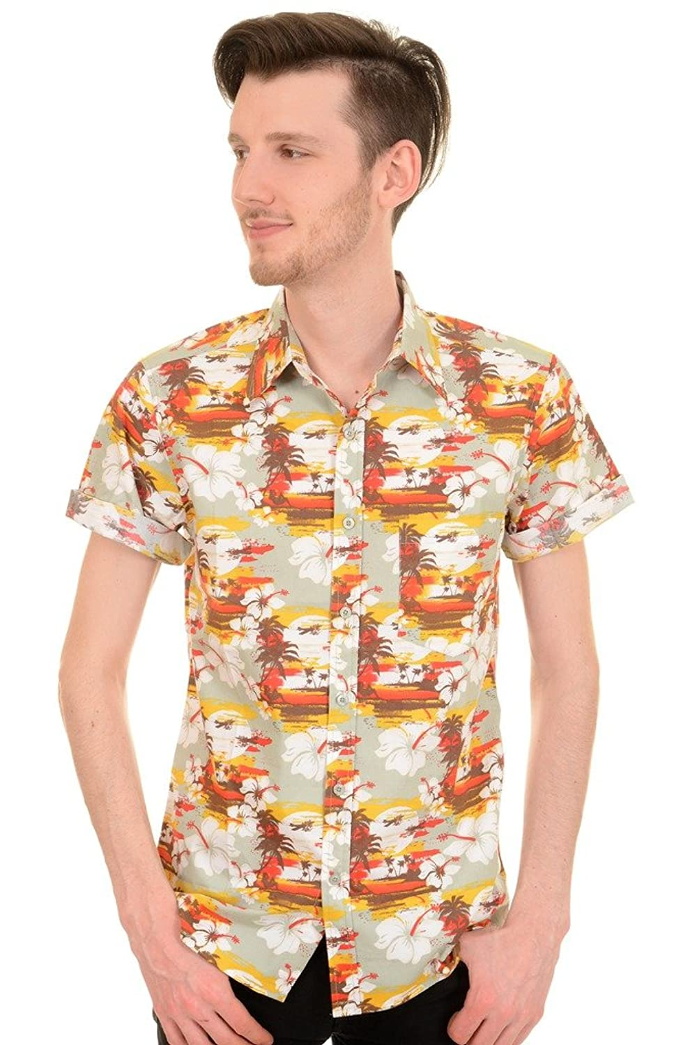 1960s Men's Clothing, 70s Men's Fashion Mens Run & Fly Retro Sunset Hawaiian Beach Shirt $34.95 AT vintagedancer.com