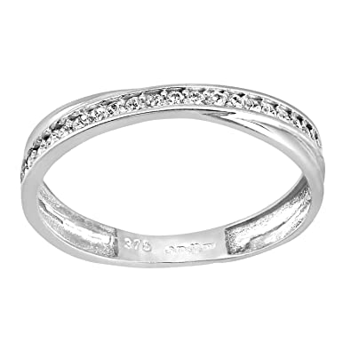 Citerna Women's 9 ct Yellow Gold Pave Set 4 Row Cubic Zirconia Half Eternity Ring