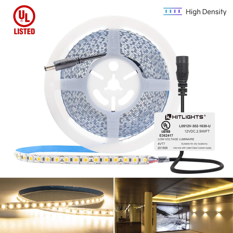 HitLights Warm White LED Strip Lights, UL-Listed Premium High Density 2835-16.4 Feet, 600 LEDs, 3000K, 44W, CRI 90+, 12V DC LED Tape Lights for Under Cabinet, Kitchen, Lighting Project by HitLights