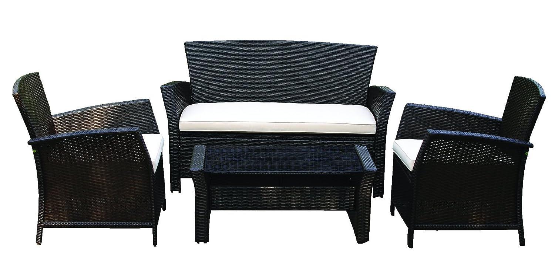 gartenm bel geflechtset bolero mit sitzkissen stahlgestell kunststoffgeflecht 7 teiliges set. Black Bedroom Furniture Sets. Home Design Ideas