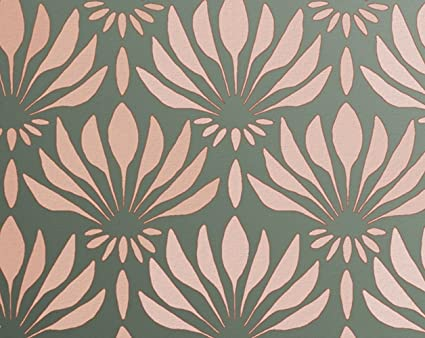 Stencil for Walls - Art Deco Fanning Flowers Pattern - Repeating ...