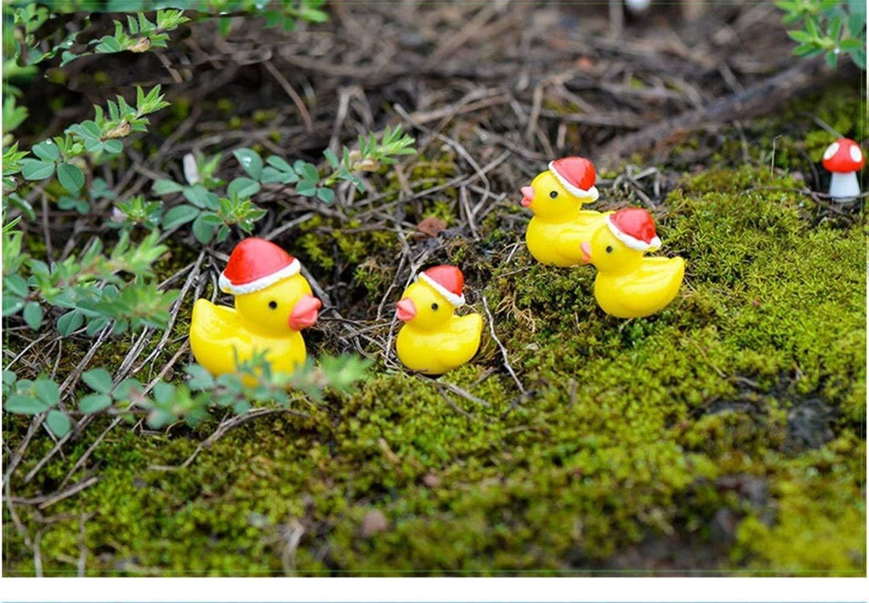 WEATLY Amarillo 10 Piezas de Navidad Linda de los Patos Figuras Miniatura Artificial Pato Miniatura de Navidad for el Hada del jard/ín DIY Crafts Color : Amarillo, Size : S