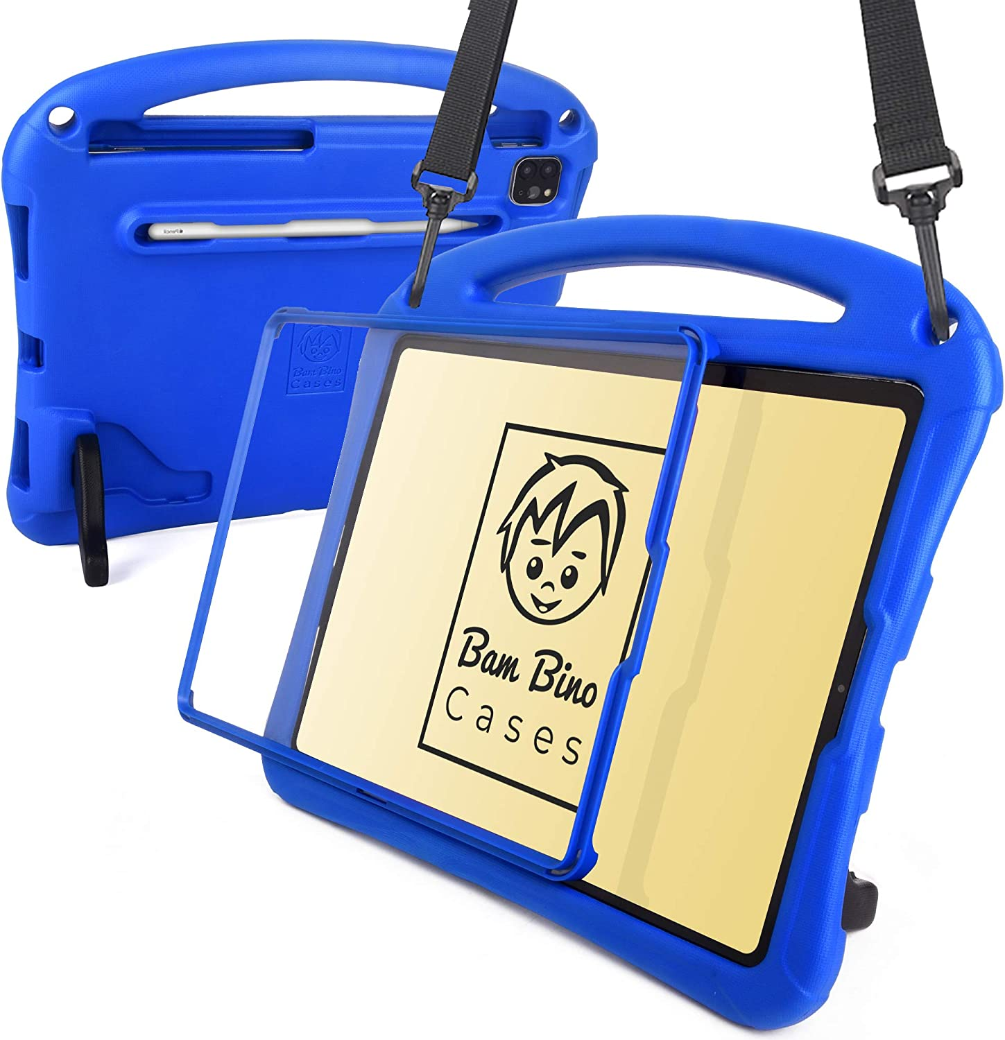 Bam Bino Space Suit [Rugged Kids Case] for 2020/2018 iPad Pro 12.9 4th & 3rd Gen | Designed in Australia | Screen Guard, Pencil Holder, Safety Strap (Blue)