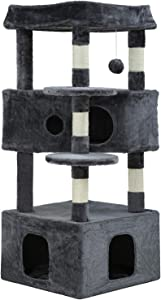 BestPet Cat Tree Cat Tower Cat Condo Playground Cage Kitten Medium Multi-Level 48.8 Inches Activity Center Play House Scratching Post Furniture Large Soft Plush Perches