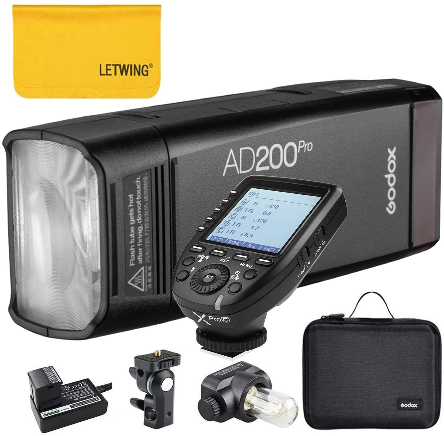 Godox AD200Pro TTL 2.4G HSS 1/8000s Pocket Flash Light Double Head 200Ws with 14.4V/2900mAh Lithium Battery and Godox XPro-C Flash Trigger Compatible for Canon Camera