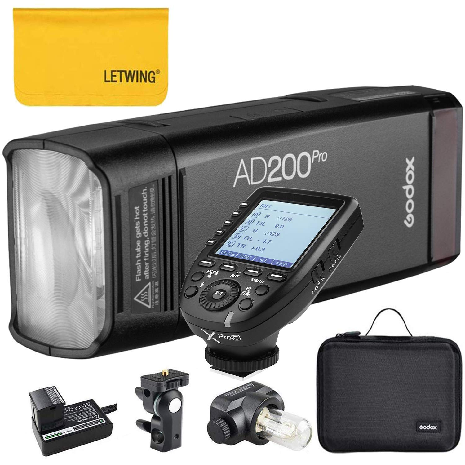 Godox AD200Pro TTL 2.4G HSS 1/8000s Pocket Flash Light Double Head 200Ws with 14.4V/2900mAh Lithium Battery and Godox XPro-C Flash Trigger Compatible for Canon Camera by Godox
