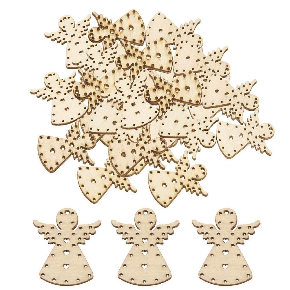 Yevison 50Pcs Carved Wooden Angel Craft Shapes Hanging Embellishments DIY Scrapbooking Ornaments Pendant Rustic Christmas Decorations Durable and Useful
