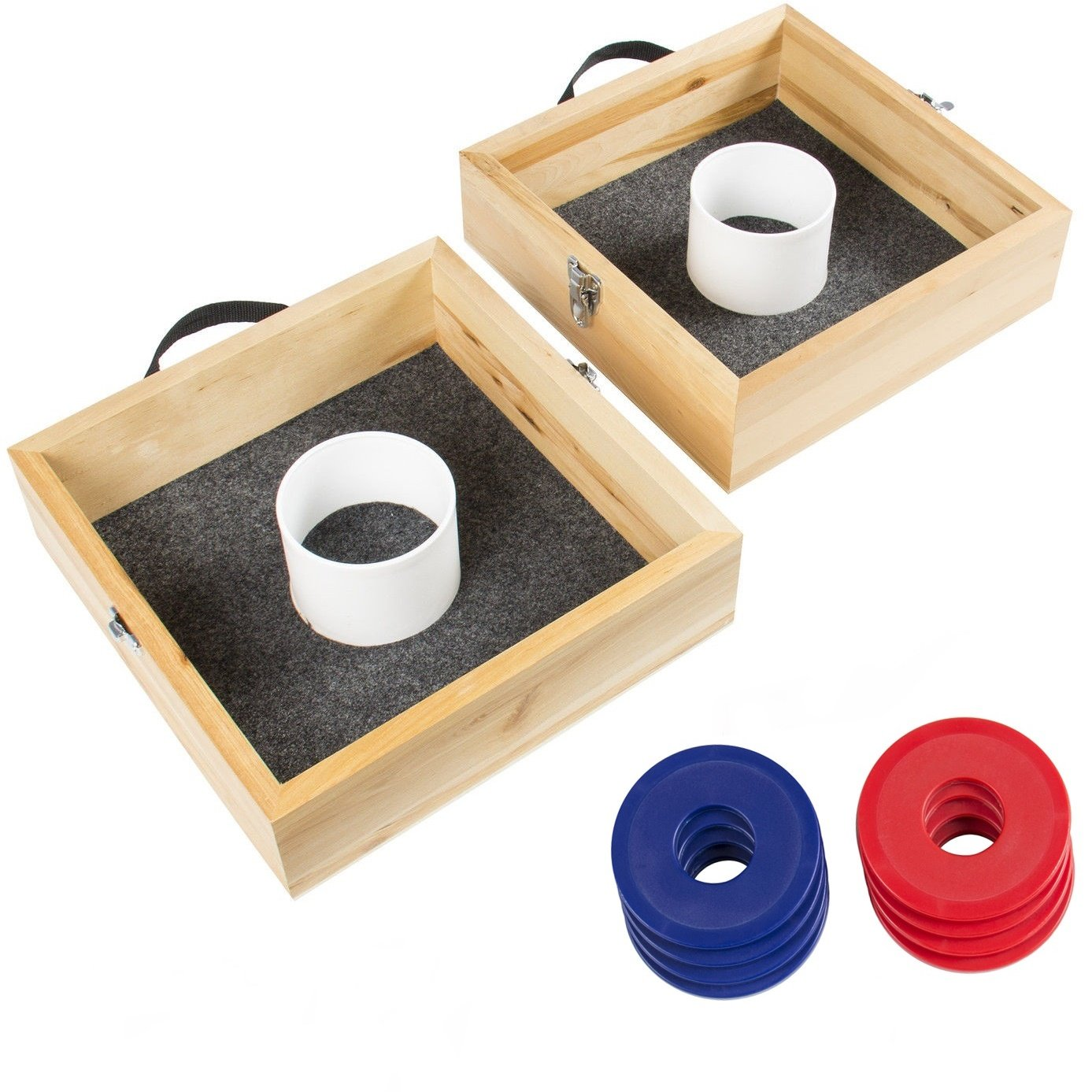 Classic Birch Wood Washer Toss Game Set Outdoor Party Carrying Case by FDInspiration