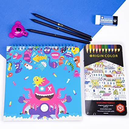Amazon Com Drawing Kit With 12 Colored Pencils Koala Sharpener