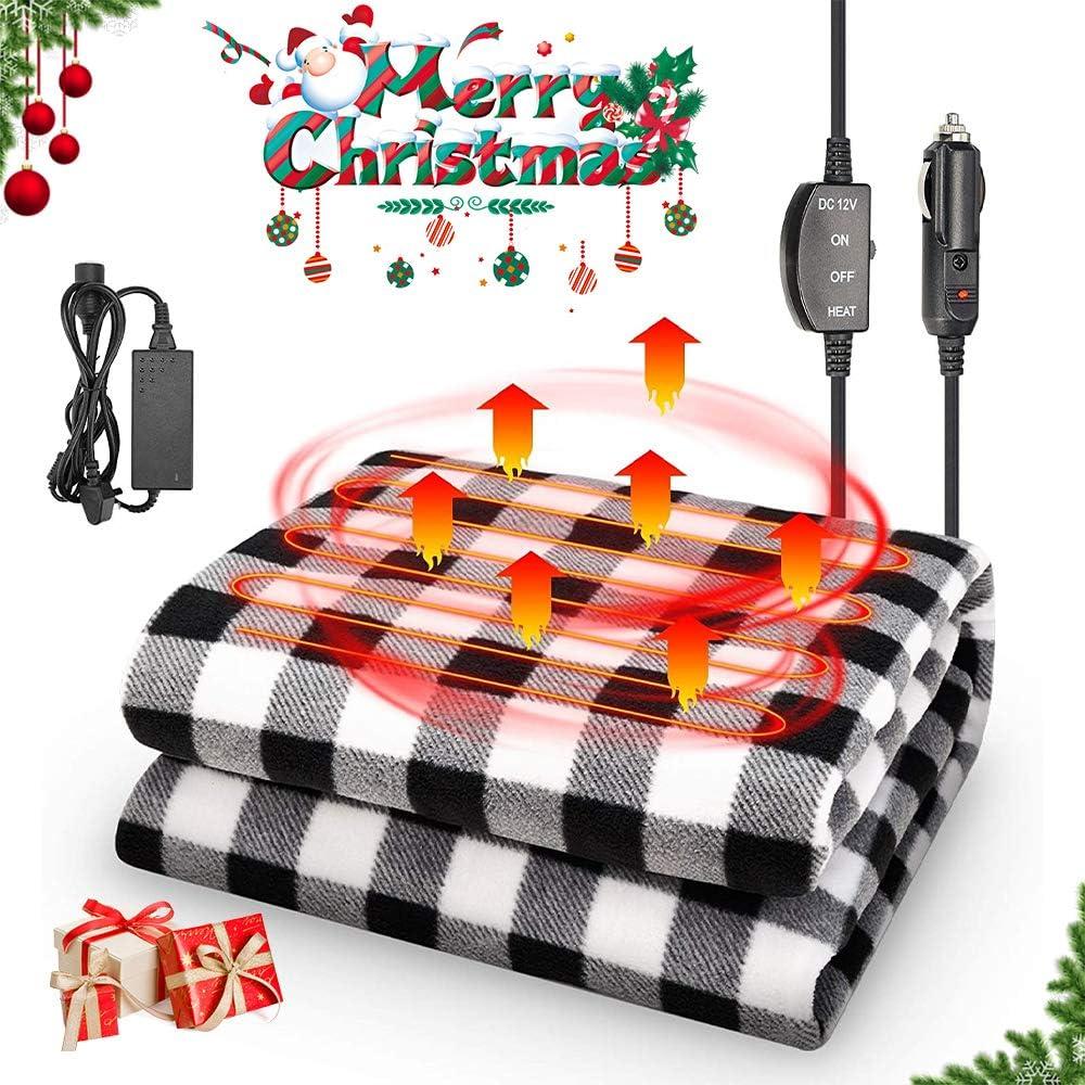 JoyTutus 12V Heated Car Blanket with AC/DC Adapter, Safe Heating Car Electric Blanket, Heating Blanket Plugs in Cigarette Lighter, Heated Travel Blanket Safe Winter for Car& Home Use, Black