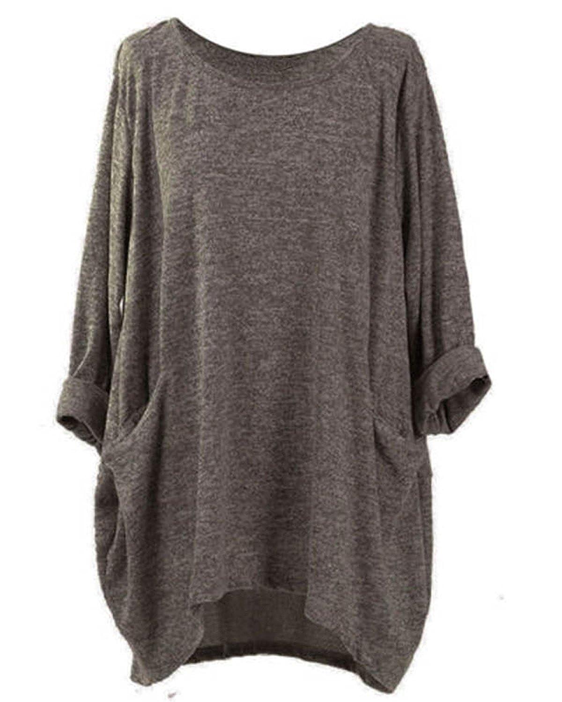 TALLA L. VONDA Camisa de Manga Larga con Dobladillo asimétrico y Bolsillos para Mujer