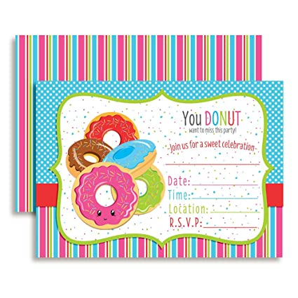 amazon com amanda creation donut fill in birthday party invitations