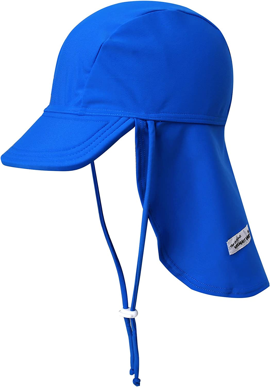 VAENAIT BABY Newborn-7T Toddler Infant Kids Unisex Boys & Girls Sun Protection Sporty Flap Swim hat UPF 50+ UV Flap Cap