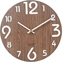 XIMING Quality Quartz Creative Fashion Battery Operated Wooden Silent 12 InchWall Clock for Home School Patio Decor…