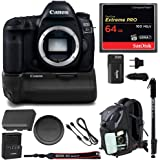 Canon EOS 5D Mark IV Professional Digital Camera: 30 Megapixel 4K Video DSLR Bundle Canon BG-E20 Battery Grip 64GB SD Card Backpack & Double Battery Charger - Photography & Travel Bundle