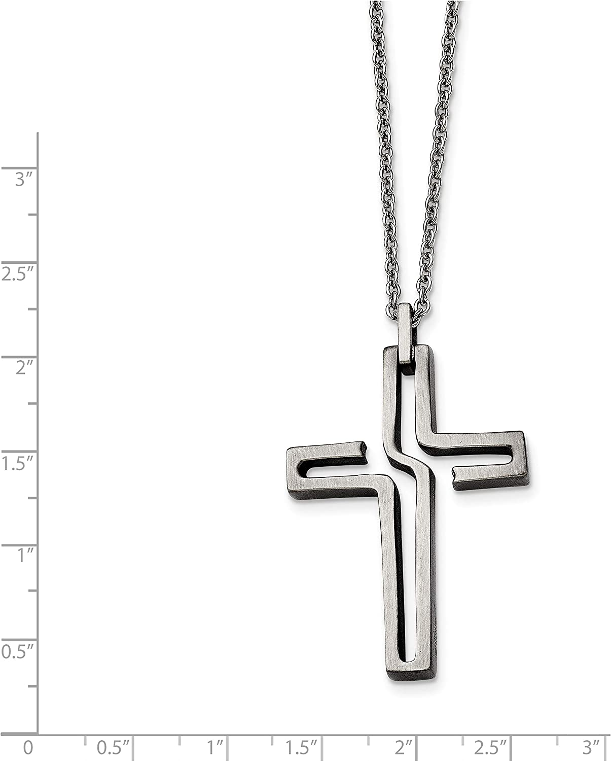 Stainless Steel Brushed Antiqued Cross Necklace 44x32mm 20 Inches
