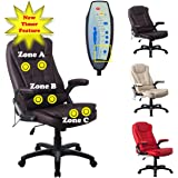 RayGar Brown Luxury Faux Leather 6 Point Massage & Reclining Recliner Office Chair 360 Swivel High Back Computer Desk Study - New