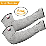 Updated Longer Cut Resistant Knit Sleeves Level 5 Protection Slash Resistant Sleeves with Thumb Slot Helps Prevent Scrapes Scratches Skin Irritations UV-Protection 1 Pair