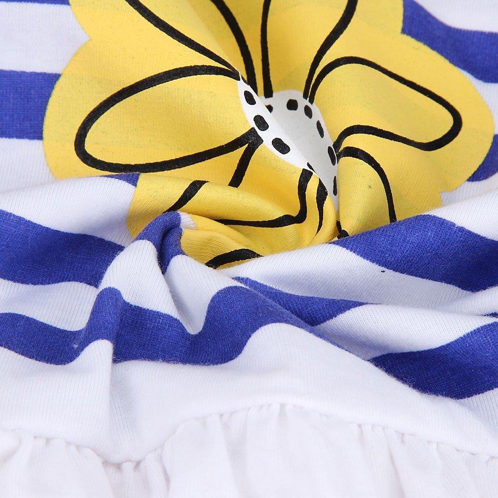 Vestidos Ropa Ni/ña Verano Princesa de Beb/é 1-8 A/ños Margarita Flor Camisa a Rayas Y Pantal/ón Conjunto