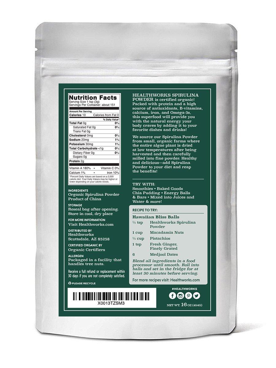 Amazon.com: Healthworks Organic Spirulina Powder 1lb - Raw, Non ...
