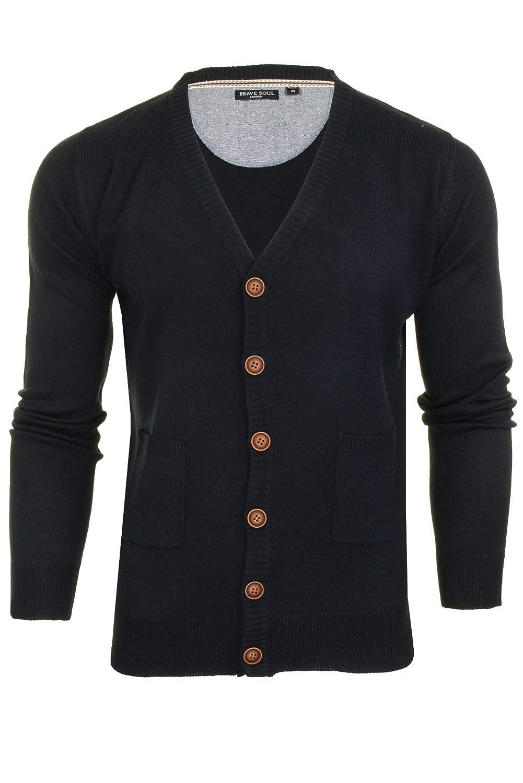 1340a40b25b Mens Brave Soul Ghazali Knitted Jumper Button Through Cardigan