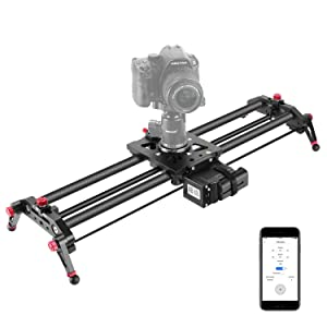 Neewer Camera Slider Motorized, 31.5-inch APP Control Carbon Fiber Track Dolly Rail with Mute Motor/Time Lapse Video Shot/Follow Focus Shot/120 Degree Panoramic Shot for DSLRs, Load up to 22 lbs