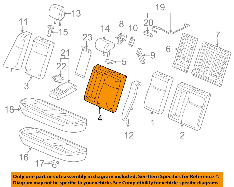 Rear Honda Genuine 82521-TR0-A41ZB Seat Back Trim Cover Left
