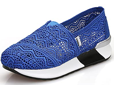 DADAWEN Women's Slip-On Platform Fitness Work Out Sneaker Gray US Size 5.5/Asia Size 36 IgQfUQ3U