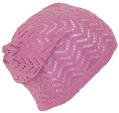 Dy Womens Loose Knit Lightweight Chevron Pattern Beanieskull Cap