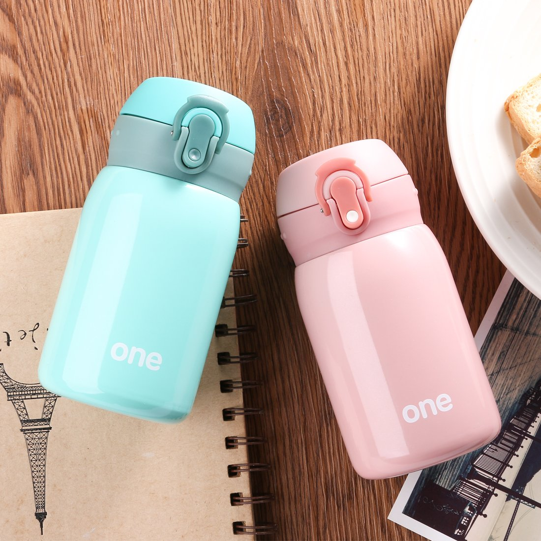 Kid&Girls 260ml/9oz Mini Insulated Water Bottle Drink Thermos Cute Stainless Steel Vacuum Flask,Leak-proof Travel Mug Coffee Tumbler (Green) by HOLD U FUN (Image #9)