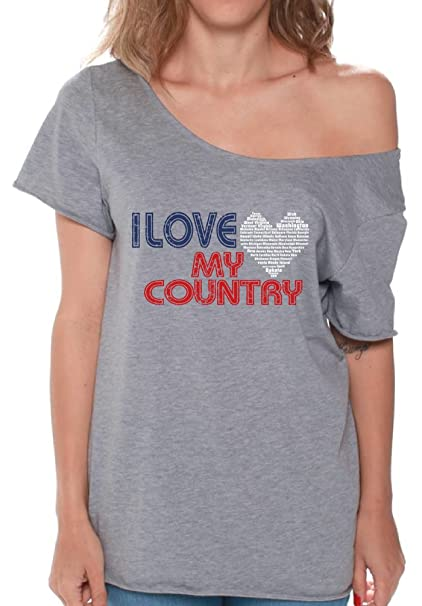 62a3bf428c6fe Amazon.com  Pekatees I Love My Country Off Shoulder Shirt Women s USA Flowy  Top 4th of July  Clothing