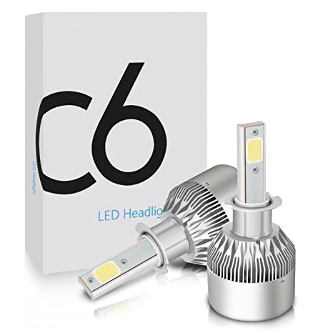 Amazon com: Mesllin H3 LED Headlight Bulbs, COB Chips Auto Headlamps