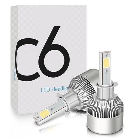 Lámparas LED de faros, Mesllin C6 H3 Auto lámparas Kits de conversión de reemplazo para el ...