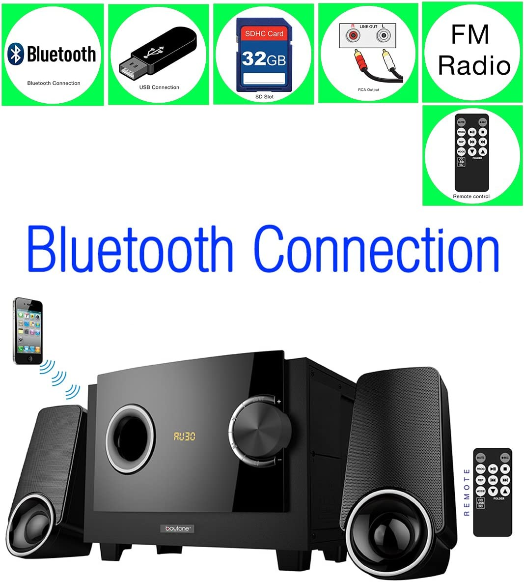 Boytone BT-3129F – Limited Edition Multimedia with Bluetooth Audio Hi-Fi Speakers System Powerful Bass Digital Display FM Radio + Supports USB/SD/AUX/PC/TV 2.1 Speaker System with 40 Watts & (Full function Remote included) Home Audio for Smartphones,Tablets,Desktop Computers,Laptops,TV & More