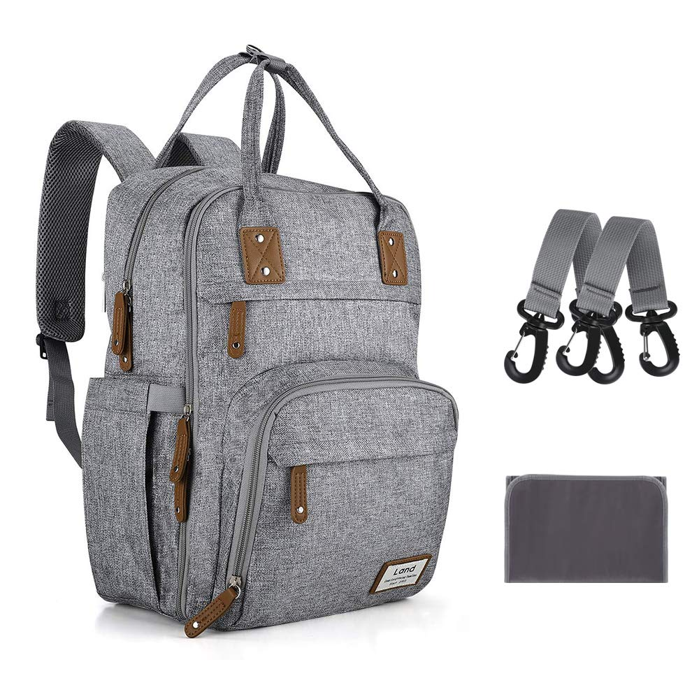 Diaper Bag Backpack Large Capacity Baby Bags with Changing Pad & Stroller Straps Travel Back Pack for Mom and Dad (Gray)