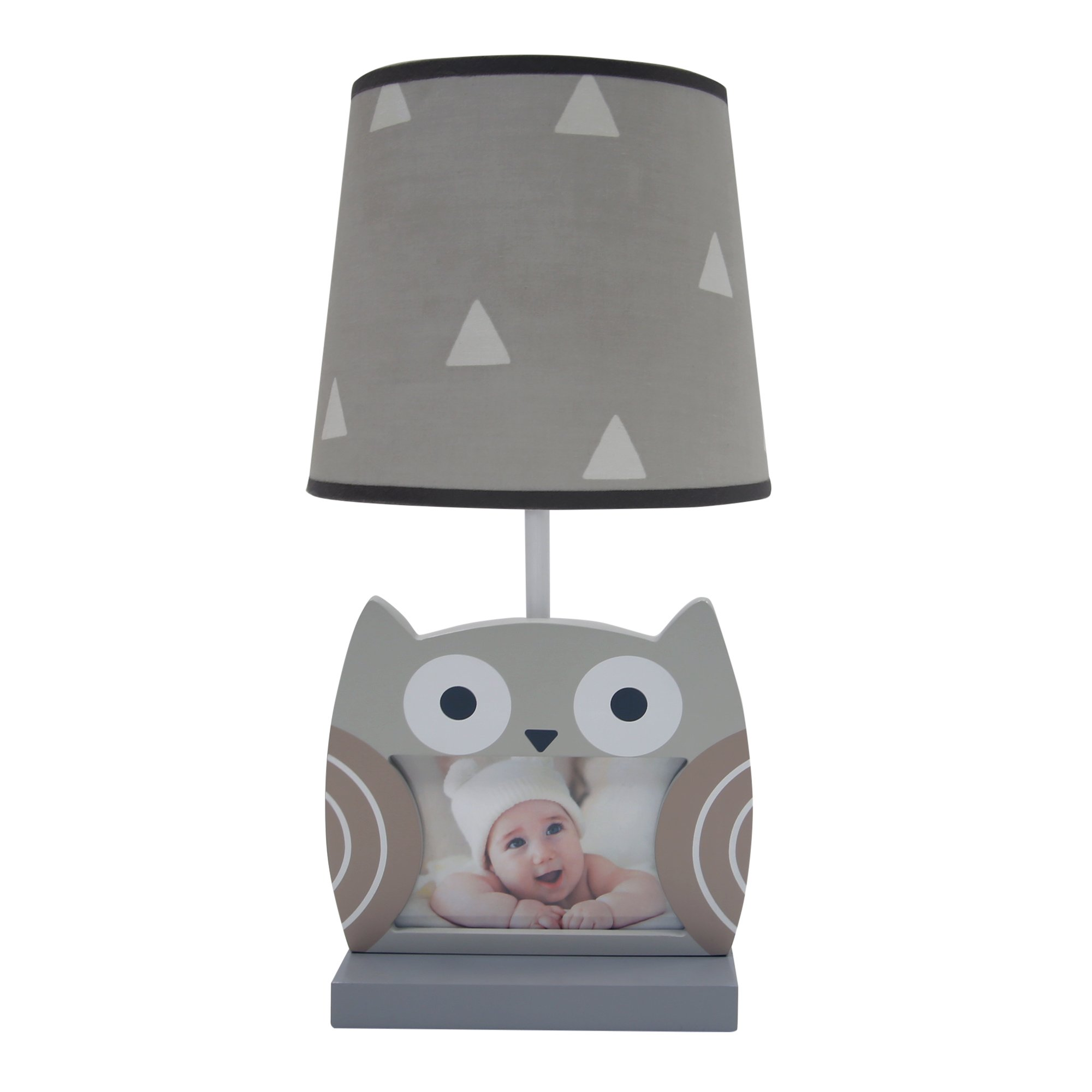 Bedtime Originals Little Rascals Owl Picture Frame Lamp with Shade & Bulb, Gray/White
