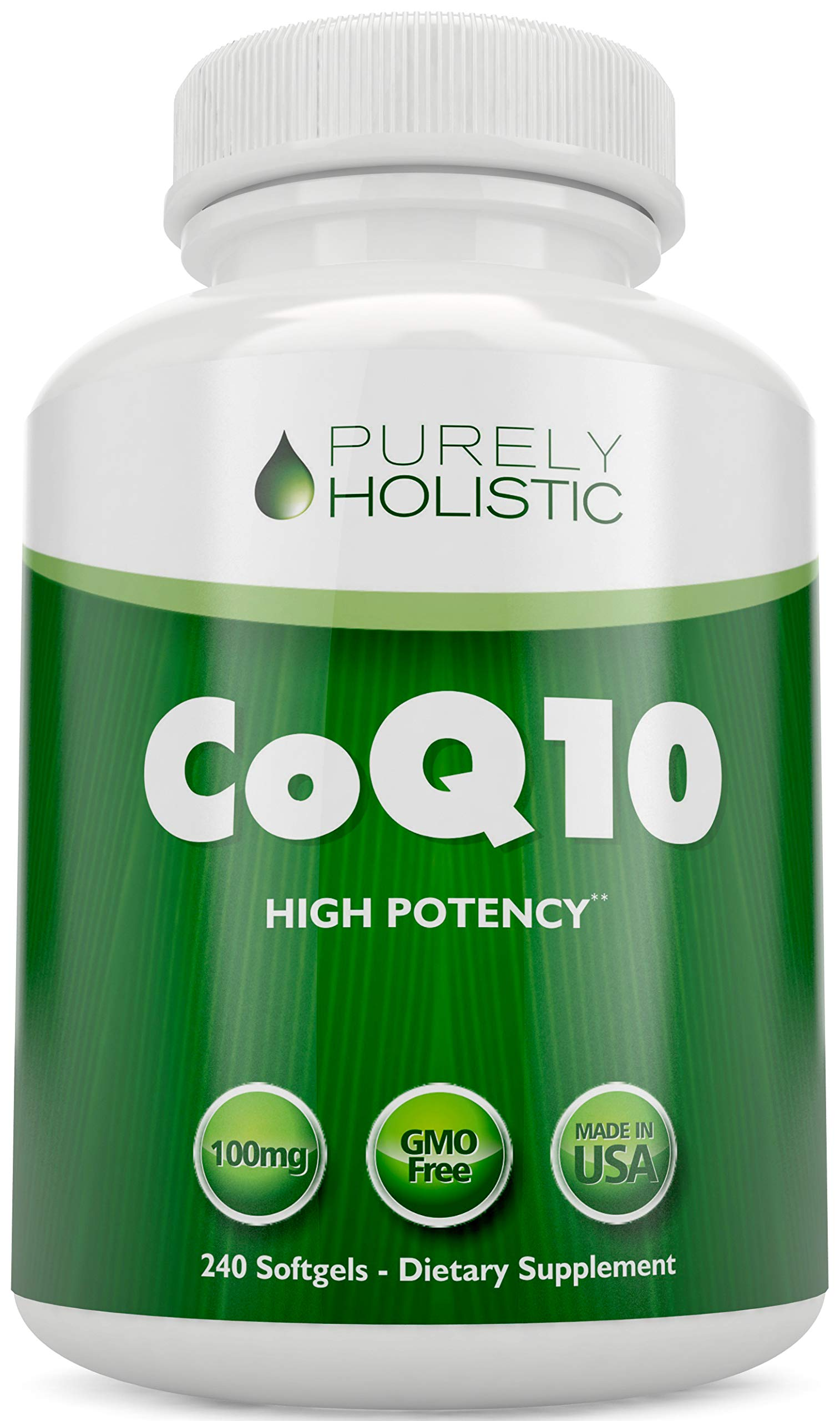 CoQ10 240 SoftGels ★ 100% Money Back Guarantee ★ High Absorption Coenzyme Q10 ★ Made in The USA to GMP Standards ★ Up to 8 Month's Co Q 10 Supply by Purely Holistic
